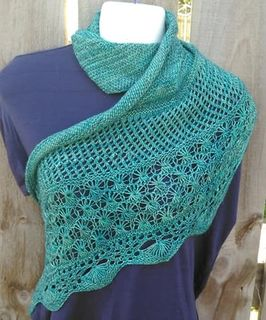 A day at the beach Triangle Shawl small