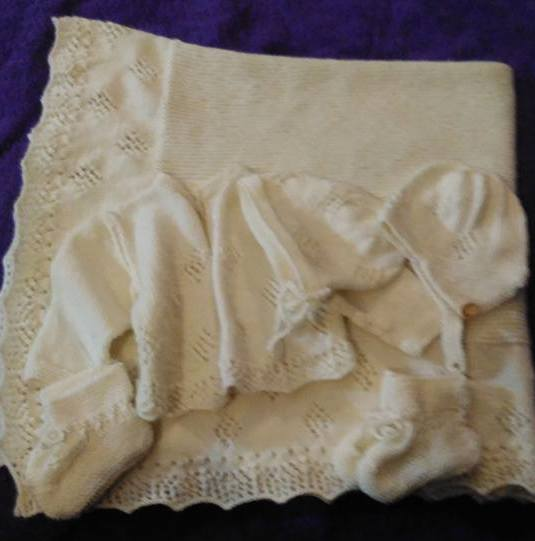 baby shawl and layette