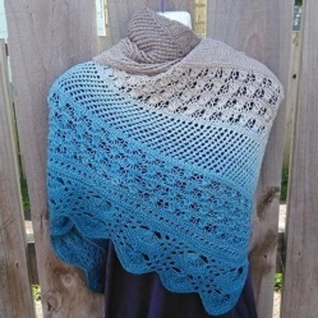 A day at the beach Triangle Shawl PDF Knitting Pattern